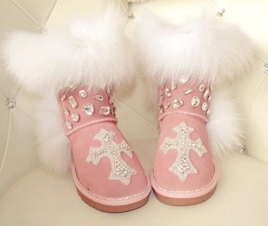 Australian snow boots winter new handmade diamond gem fox fur snow boots cowhide pink boots non-slip womenAustralian snow boots winter new handmade diamond gem fox fur snow boots cowhide pink boots non-slip women