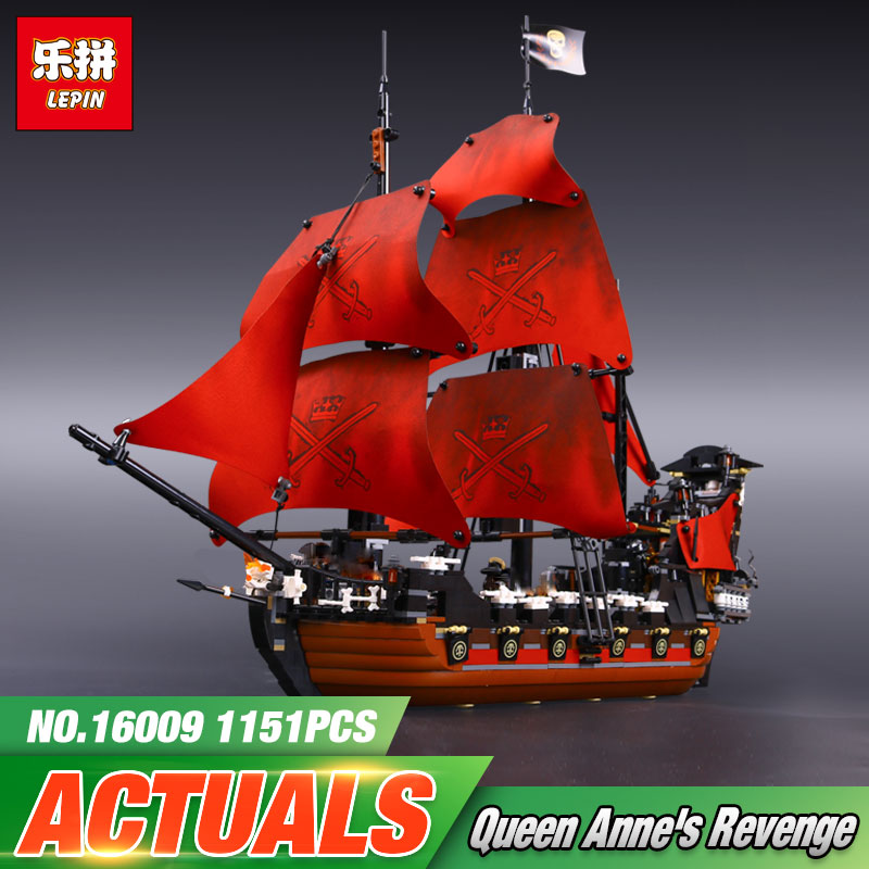 2017 NEW LEPIN 16009 1151Pcs Pirates Of The Caribbean Queen Anne's Reveage Model 4195 Building Kit Blocks Brick Toys Brinquedos lepin 16009 caribbean blackbeard queen anne s revenge mini bricks set sale pirates of the building blocks toys for kids gift