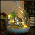 New Arrive MG010 DIY Glass Ball Doll House Model Building Kits Miniature House wooden dollhouse contains music