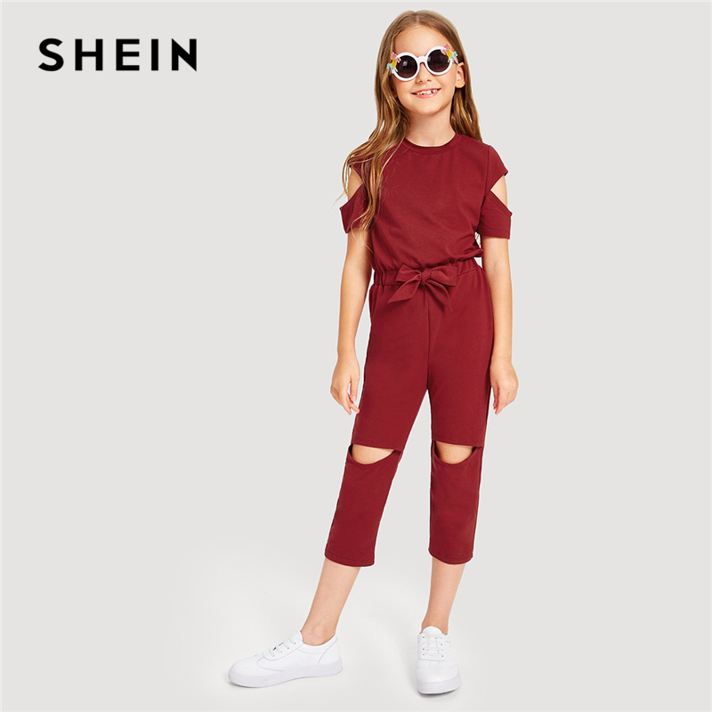 SHEIN Kiddie Burgundy Cold Shoulder Zip Back Cut Out Drawstring Waist Jumpsuit 2019 Summer Short Sleeve Casual Girls Jumpsuits все цены