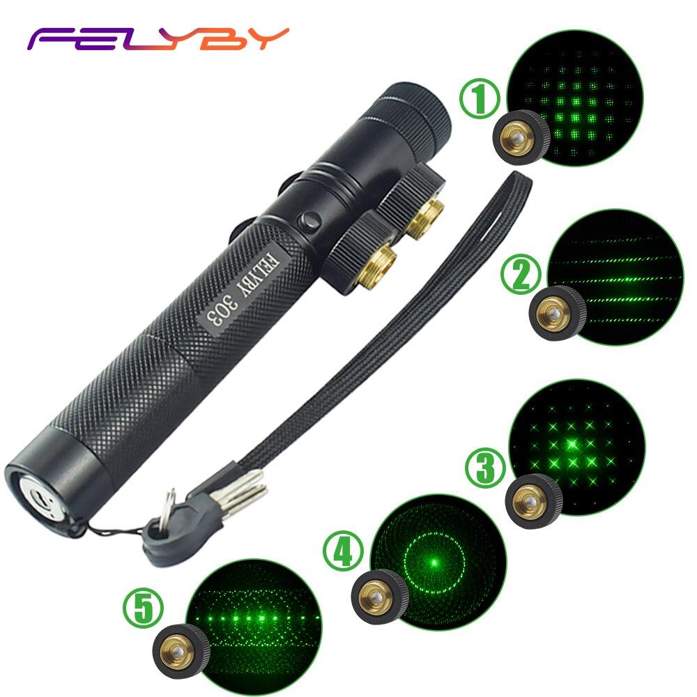 FELYBY 303 Laser pointeur stylo 532nm vert vue Laser pour bureau/enseignement/réunion Laser pointeur avec batterie Rechargeable 18650