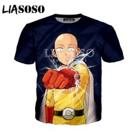 LIASOSO Summer New Men Women T-Shirt 3D Print Cute Anime One Punch Man Sweatshirt Fashion Unisex Short Sleeve Top Pullover A010