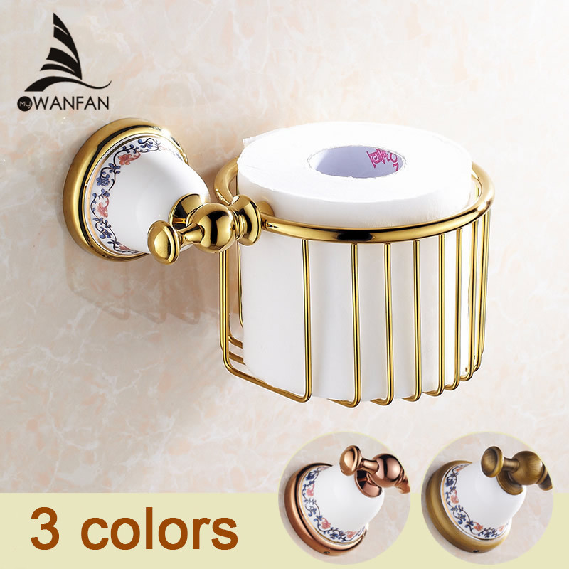 Bathroom Accessories Golden Paper Towel Basket Full Copper Toilet Paper Box Toilet Tissue Box Waterproof Toilet Paper Holder3319 hole digging toilet paper basket pumping paper box space aluminum towel rack wall tissue box