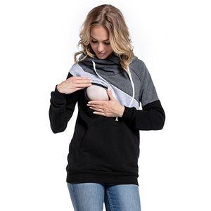 Image 4 - בגדי הריון אופנה משולבת אמא הנקה נים חולצה תפרים הנקה הריון נשים בגדים