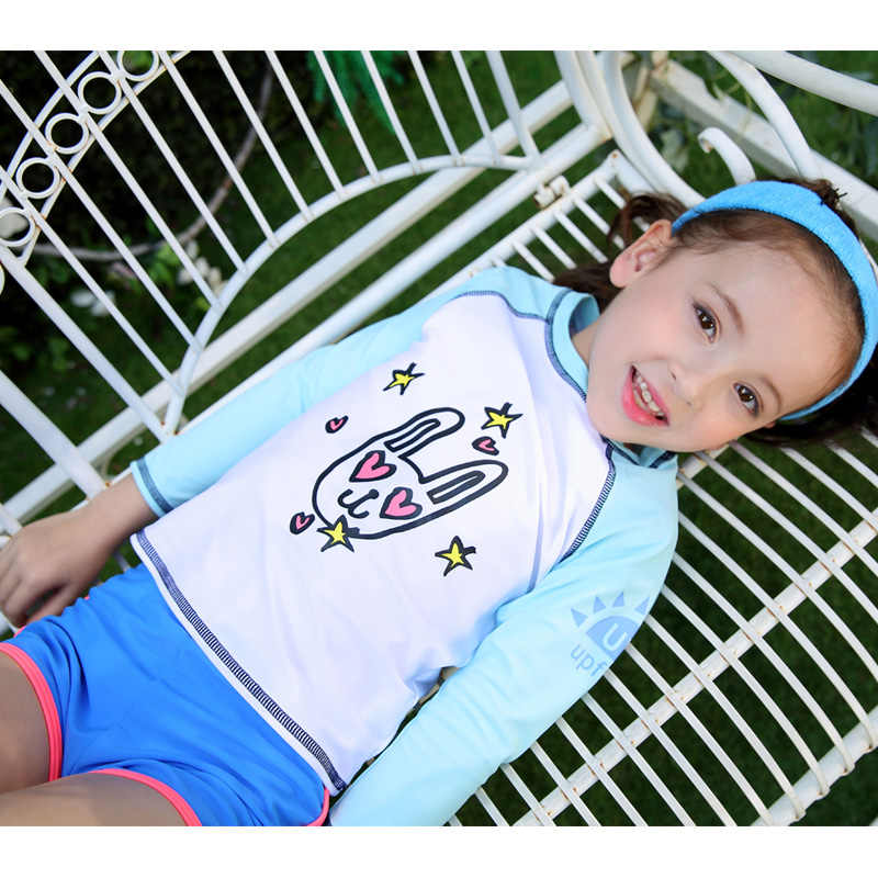 753b258a3c Girls Long Sleeve Swimsuit UPF 50+ Rashguard 3-10 Years Set of 3 piece