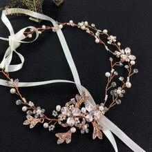 Gibsonbridal oro plata colores perla y rhinestone hecho a mano de la boda Celada de novia boda de la vid del pelo accesorio
