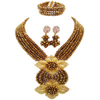 Lovely Golden Brown African Jewelry Set Nigerian Beads Necklace Sets for Women 6HLK08