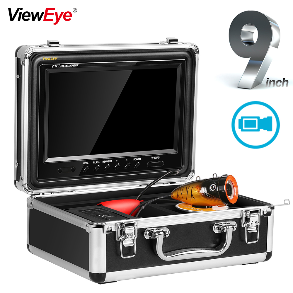 ViewEye Fish Finder Underwater 1000TVL 9 Color 12 LED Lights Controllable UnderWater Monitor Video Camera For