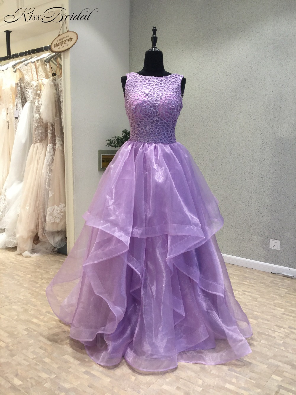 Vestido longo New Purple Long   Prom     Dresses   2018 Scoop Sleeveless A-Line Beading Organza Backless Evening   Dress