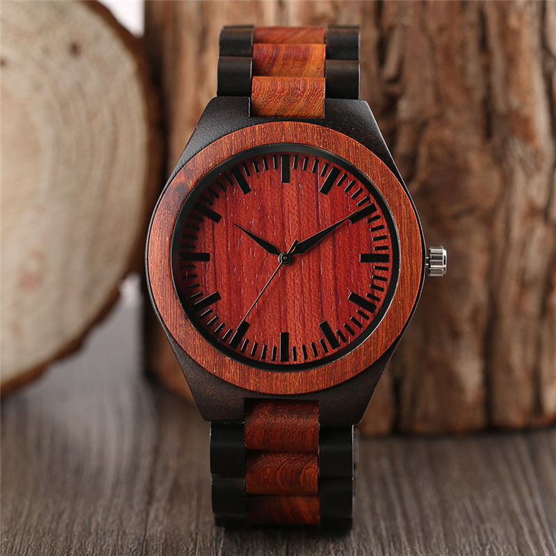 High Quality Fashion Men Hand-made Wooden Quartz Wristwatch Red Black Wood Band Simple Dial Cost-effective Male Watch Best Gift