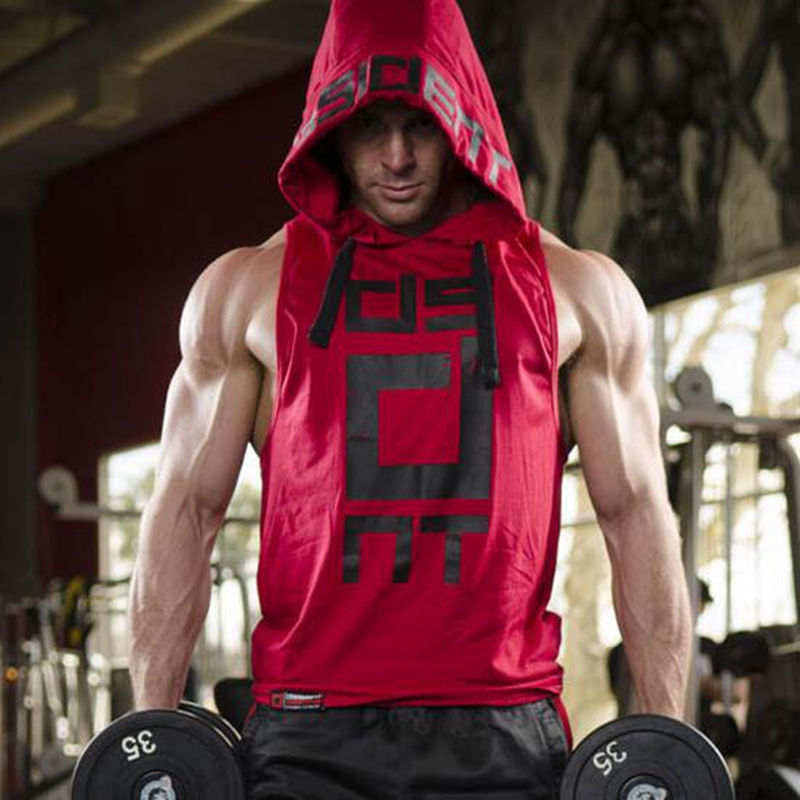 Men Hooded sleeveless undershirt cotton Man vest waistcoat sleeveless   tank     top   mens Workout fitness hoodies sweatshirts Man