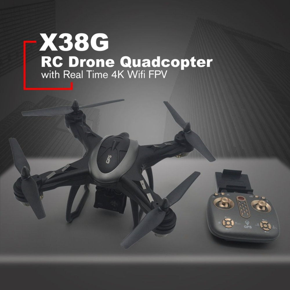 X38G Smart Selfie GPS RC Drone Quadcopter with Real Time 4K Wifi FPV Wide Angle Camera Hovering One Key Return Headless Mode jjrc h8d 2 4ghz rc drone headless mode one key return 5 8g fpv rc quadcopter with 2 0mp camera real time lcd screen s15853