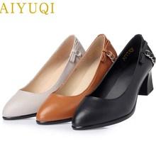 Купить с кэшбэком AIYUQI 2019 spring new geunine leather women shoes comfortable breathable ladies high heels professional dress shoes women