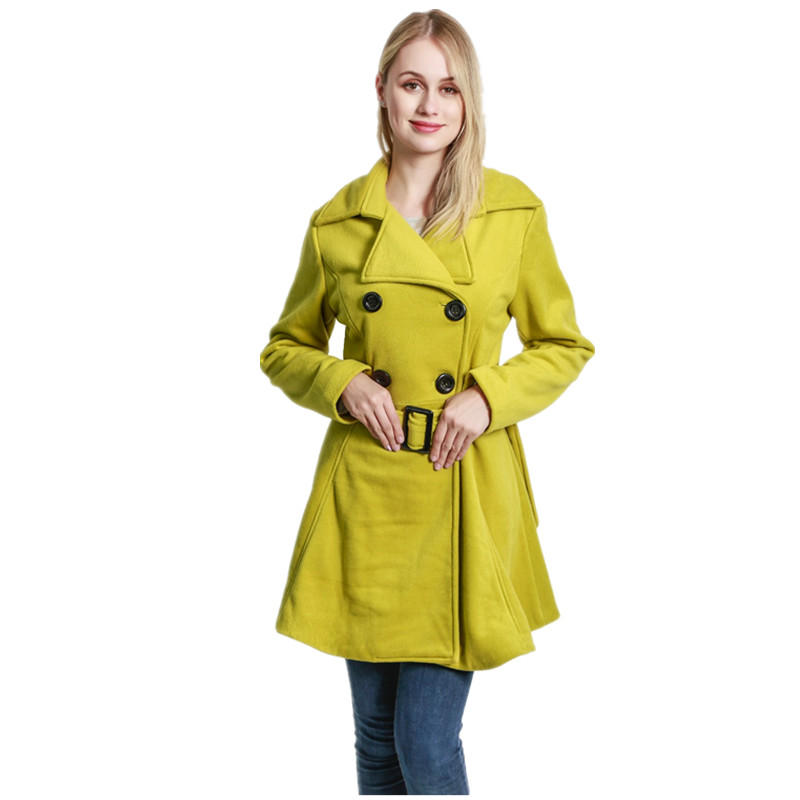 bb5f8ee31db ForeMode Women Swing Double Breasted Wool Pea Coat with Belt Buckle Spring  Mid-Long Long Sleeve Lapel Trench Outwear