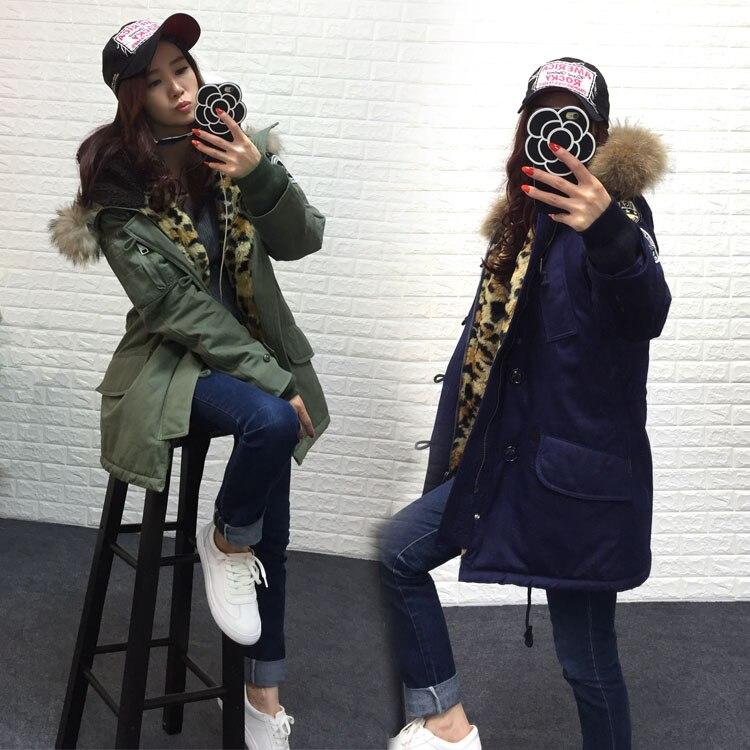 2016 new winter jacket women basic coat 100% real raccoon fur collar pockets loose oversize Leopard long parka Military green