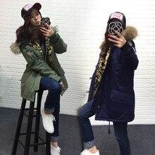 2016 новая зимняя куртка женщины основные пальто 100% реального ракун меховым воротником карманы свободные завышение Leopard длинные куртка хаки