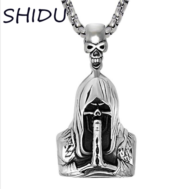 Punk gothic jewelry retro punk skeleton charm pendant stainless the punk gothic jewelry retro punk skeleton charm pendant stainless the death grim reaper necklace for men mozeypictures Image collections