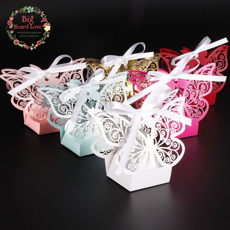 Wedding Gifts For Bridal Party: 50Pcs Laser Cut Butterfly Wedding Candy Box Wedding Favors