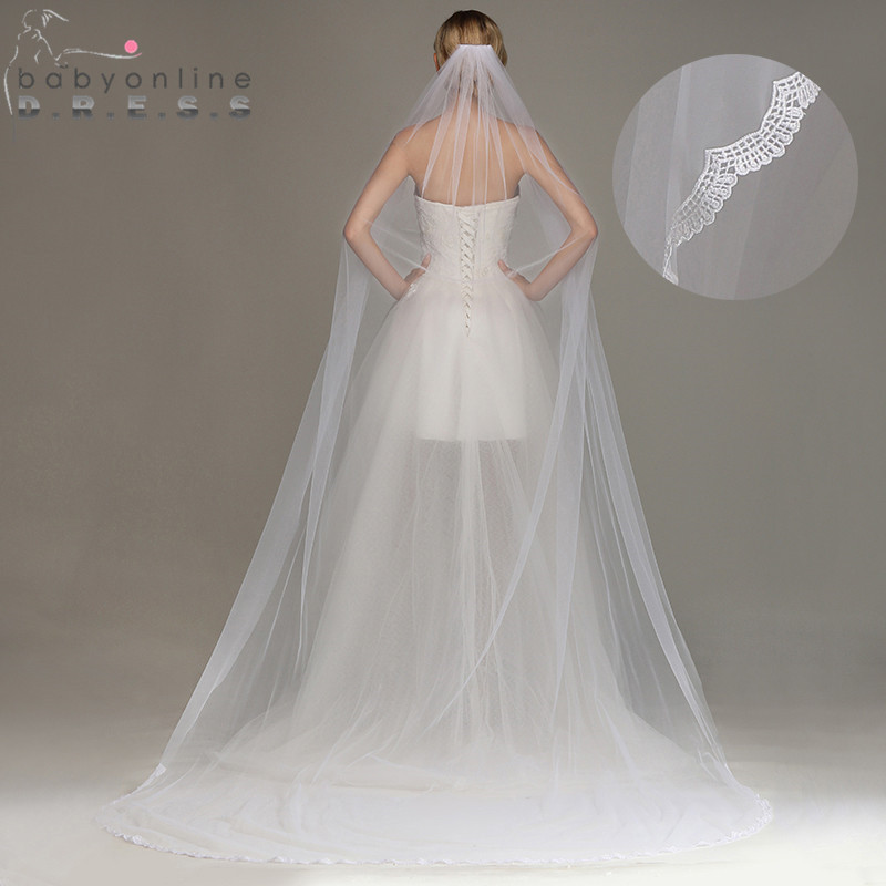 Wedding-Veil Cathedral Voile Comb Tulle Mariage Lace-Edge One-Layer 3M With Bridal Veu-De-Noiva