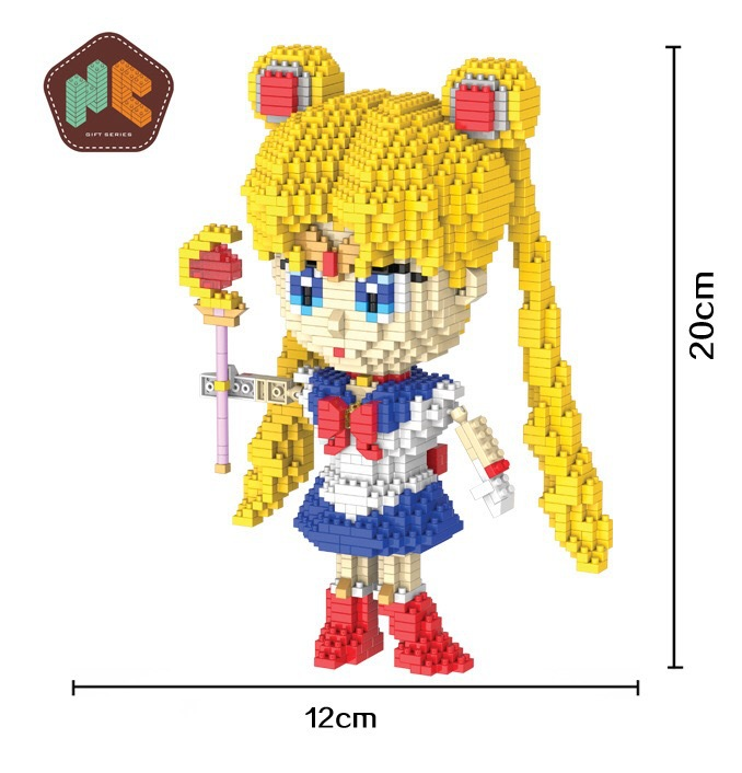 HC 9037 1650Pcs Classic Anime Series Sailor Moon DIY Magic Blocks Diamonds Building Block Toys Compatible with hc9009 1650pcs pikachu cartoon movie series without original box building blocks diamond bricks toys compatible with loz