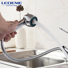 LEDEME Kitchen Faucet Pull Out Flexible Pipe Chrome Plated Water Purification Features Faucets Ceramic Plate Spool L6048