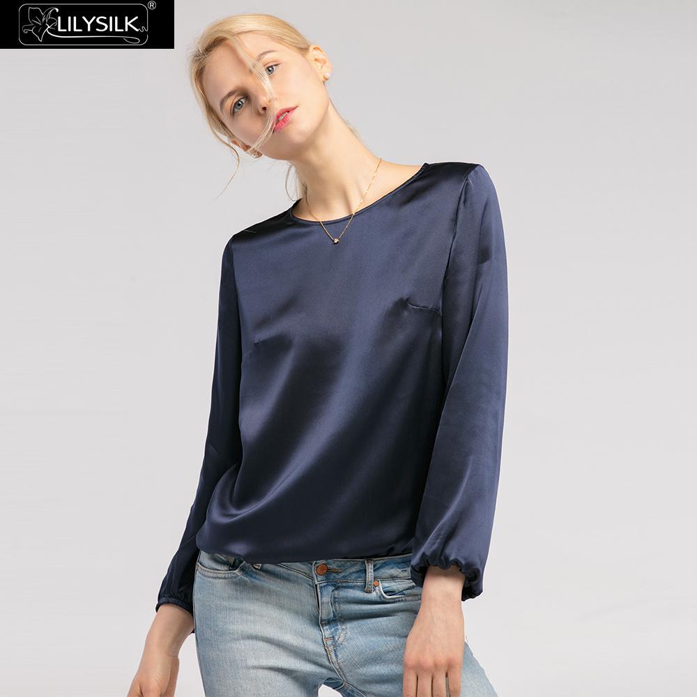 LilySilk bluzka koszula jedwabiu dla kobiet elegancki okrągły dekolt 22 momme letnie damskie darmowa wysyłka w Bluzki i koszule od Odzież damska na  Grupa 1