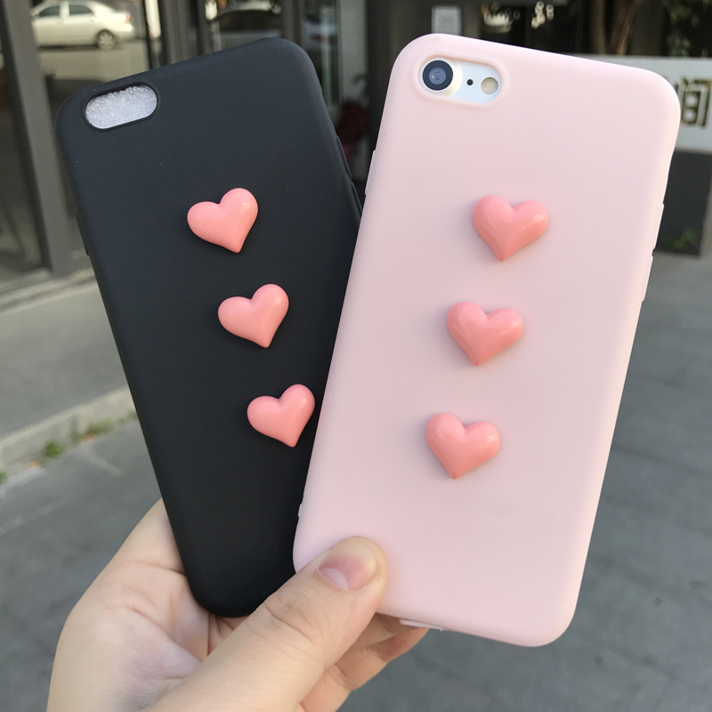 Soft Case for iphone 5 5S SE 6s 7 plus 8 X 10 3D pink heart Coffee Milk Cute candy TPU phone cover for iphone 6 6s 7 coque