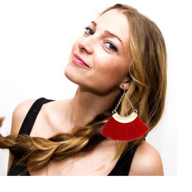 2018 bohème gros gland boucles d'oreilles pour femmes dame femelle frange boucle d'oreille à la main Brincos déclaration mode bijoux en gros B25