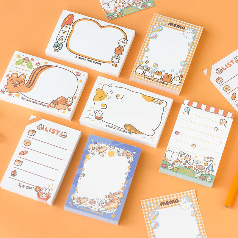 100 Sheets Lovely Bread Rabbit Memo Pad Kawaii Stationery N Times Sticky Notes Portable Notepad School Office Supply Papeleria