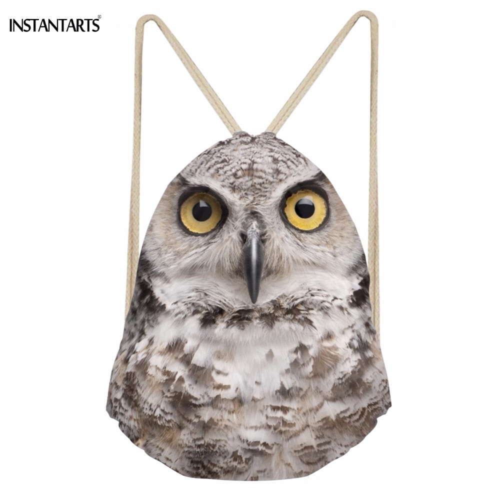 INSTANTARTS Cool 3D Animal Owl Mouth Printing Men Women Drawstrings Bags Casual Male Travel Beach Packpacks Bundle Storage Bag
