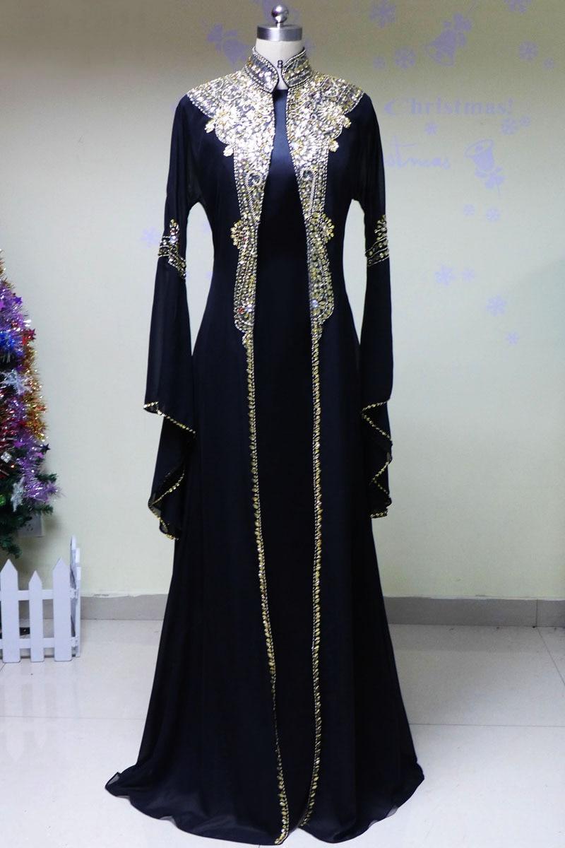 2016 Muslim Kaftan Women Satin Abaya In Dubai Long Sleeve -7442