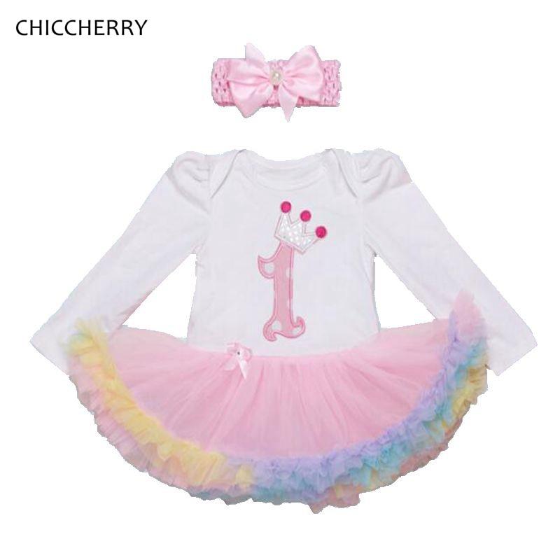 Pink 1 Years Birthday Dress Long Sleeve Baby Girl Dress + Headband Set Vestido De Bebe Lace Romper Dress Toddler Girl Clothes