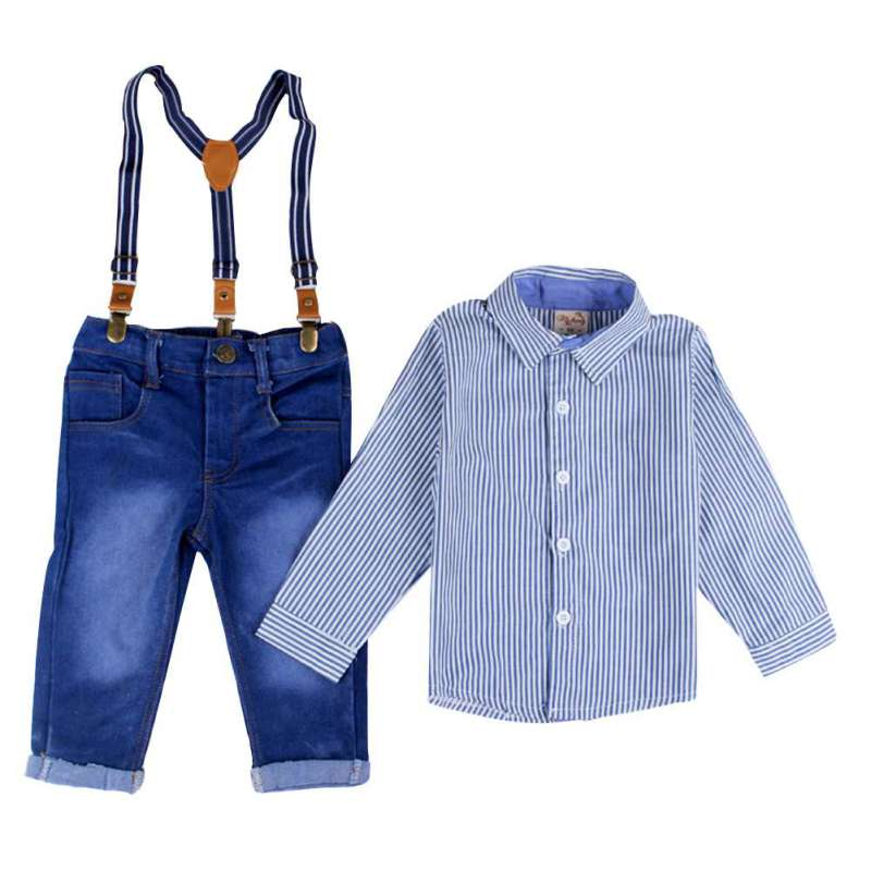 2 Pcs Baby Boy Suspender Gentlement Suits Overalls Jeans Striped Full Shirt Kid Spring Clothing Sets