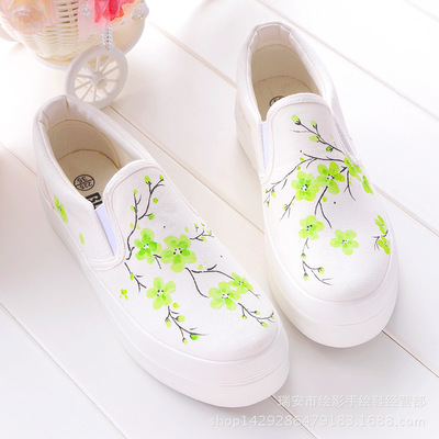 Women Shoes 2018 Fashion Summer Casual Ladies Shoes Canvas Breathable Platform Flat Shoes Woman Sneakers Hand Painted Flowers
