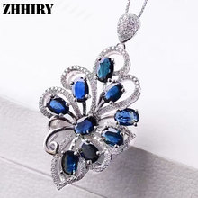 Women Solid 925 sterling silver Natural Sapphire Necklace Pendant Genuine Fine Jewelry With Chain ZHHIRY