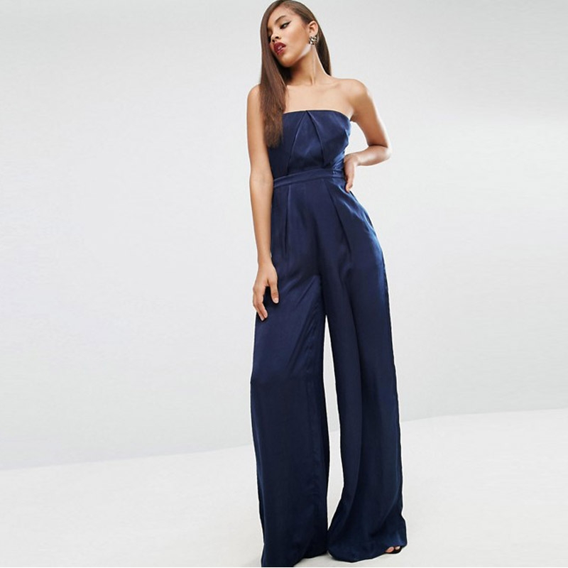 MingJieBiHuo fashion woman Jumpsuits Korean elegant new arrival summer OL office solid slim strapless Wide leg Jumpsuits
