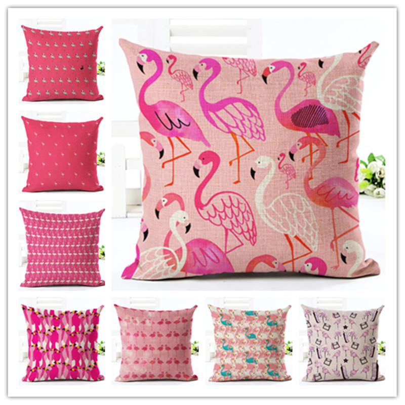 2016New Arrival Cartoon Style Color Arrangement Flamingos Print Fundas Cotton Linen Home Docor Cushion Cover Soft Pillow Cojines ...