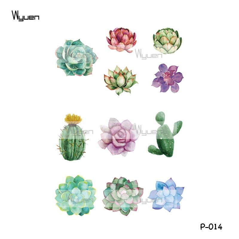 57f68c3e627cd Wyuen Flower Succulent Plants Waterproof Temporary Tattoo Sticker for Women  Body Art Fake Tattoo 9.8X6cm