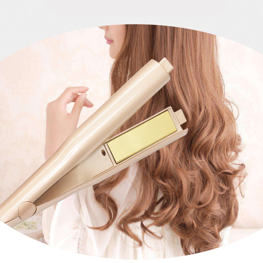 10pcs/lot Gold Plated Titanium Plates 2 In 1 Fast Hair Straightening Curlers Curling Iron hair curler Free Shipping