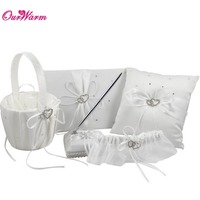 5Pcs Set Satin Wedding Decoration Product Ring Pillow Flower Basket Guest Book Pen Set Garter Home