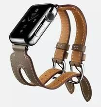 Más reciente Para Apple Correa 1: 1 Diseño Original Pulsera Correa Para La Muñeca Banda de Cuero Genuino Para Apple Inspección2 + adaptadores 38mm42mm