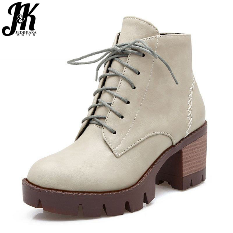 J&K Size 34-43 Casual Style Lace up Ankle Boots Square Med Heels Thick Platform Shoes Woman Autumn Add Fur Warm Winter Boots size 34 42 high quality short boots add fur platform winter shoes woman 2016 fashion thick high heels lace up shoes for women