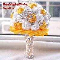 New Arrival Giá Tốt Nhất Trắng Ngà Brooch Wedding Bouquet Bouquet de Polyester Bó Hoa Cưới Trân Flowers buque de noiva