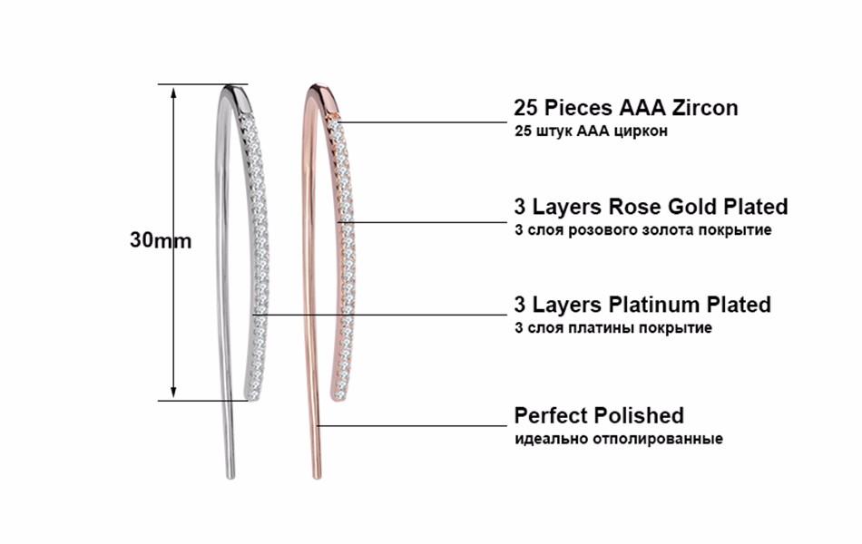 Effie Queen Wholesale Lovely Crystal Silver Color Dangle Hanging Earrings Trendy Line Earring Micro Zircon Paved Jewelry DE121 5