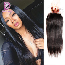 Racily Hair Straight Brazilian Human Hair 10-22 Inch 4x4 Lace Closure Natural Color 100% Remy Hair Closure 1PC/Lot Free Shipping(China)