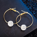 Fashion Crystal Rhinestone Exaggerated Luxury Big Circle Earrings Female Ear Ring 1Pair ES095