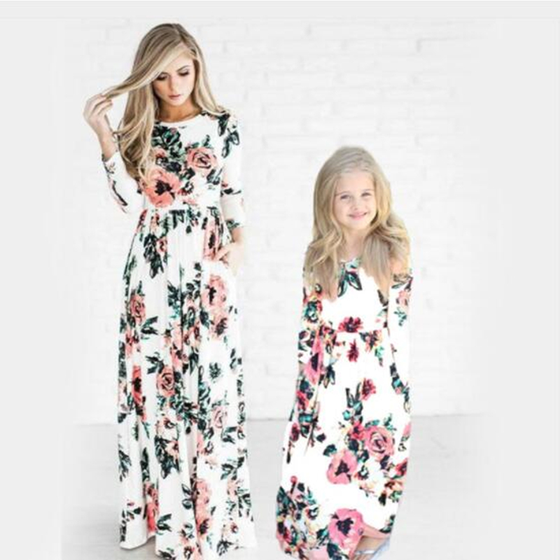 LILIGIRL Long-Family Look Fashion Dresses for Mother Daughter Floral Girls Dress Family Matching Mommy and Me Clothes Outfits