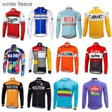 Зимние флисовые трикотаж джерси человек с длинным рукавом велосипед одежда тепловой ветрозащитный одежда ropa Ciclismo