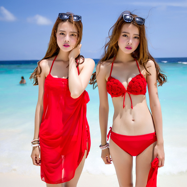 367bf25339e97 Top Quality Woman Sexy Red Bikini Push Up Swimsuit Women Halter Bra Biquini  Bandeau Swimwear Handmade Flower Bathing Suit