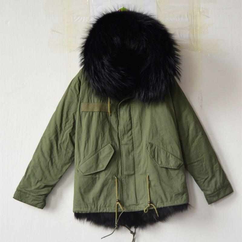 Коротышка Армейский зеленый куртка с черным лисий мех внутри Mrs Зимний стиль пальто